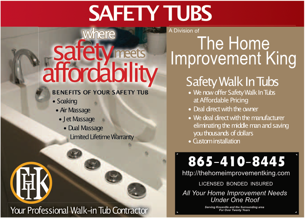 Safety and Affordability go hand in hand with The Home Improvement King's Safety Tub division.